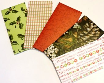 Merry Christmas Money Envelopes, Decorative Red Green Holiday Cash Monetary Gift Paper Pouches, Set of 5 Envelopes itsyourcountry