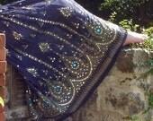 CYBER MONDAY SALE Navy Blue Gypsy Skirt, Boho Maxi Skirt, Long Indian Peasant Skirt, Bohemian Skirt, Bollywood Belly Dance Sequined Skirt, F