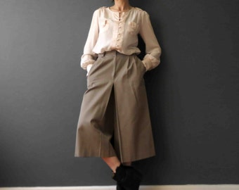 70s Khaki Taupe Cotton Drill Culottes Skorts Skirt Small