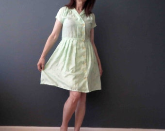 70s 80s Spearmint Green Floral Pleated Day Dress Small