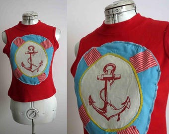 CLEARANCE Nautical Patchwork Tee Shirt T Shirt Womens Repurposed Guess T shirt Red