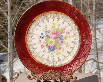 Rare Aristocrat Salem Plate Maroon 23 Karat gold Encrusted Made in USA