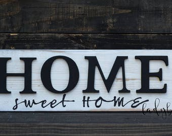 Home sweet Home. Home decor. Sign and wooden letters. Wall signs. Reclaimed wood., y Ladybug design by Eu.