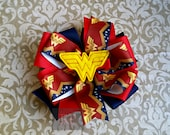 Stacked Boutique Loopy Pinwheel Bow with WonderWoman Felt Clip Center - DC Wonder Woman ComicCon Hairbow - Handsewn Bow -