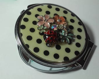 Vintage Compact Mirror Polka Dots and Cloisonne Flowers, Lady Bug, Butterfly