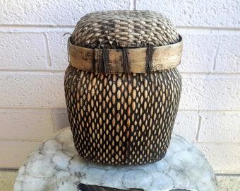 Woven Organic Fiber Arts Water Basket Mud Sealed Lidded Unique Home Decor