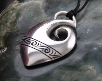 Sterling Silver Maori Fish Hook Pendant~Maui Hook ,Hei Matau, Tribal ethnic jewelry
