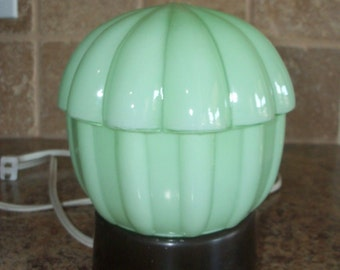 FREE USA Shipping-Vintage Jadeite Glass Ceiling Light Lamp Jadite-Works Art Deco