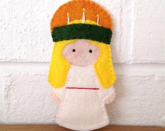 Saint Lucia Lucy - Catholic Saint Toy - Finger Puppet- Ornament