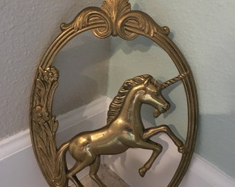 vintage brass unicorn wall art