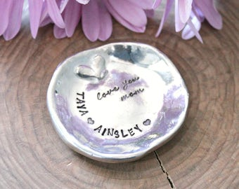 Personalized Ring Dish, Pewter Trinket Dish Gift, Custom Ring bowl, Gift for Mom, Bridesmaid Gift, Keepsake For The bride - With Love Dish