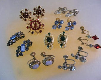 Vintage EIGHT PAIRS Rhinestone Clip Earrings and One Brooch.....  Lot 5234