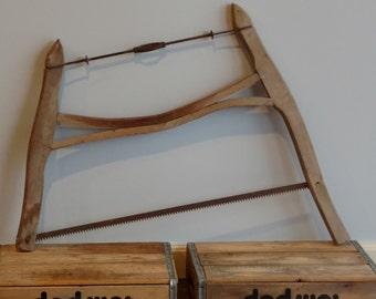 Antique Vintage Primitive Wooden Bow Buck Cross Cut Saw Rustic Tool Barn Cabin Decor