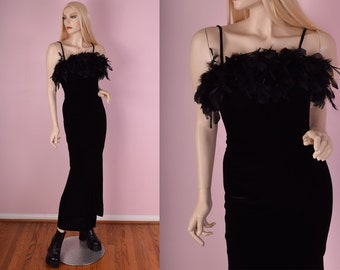 90s Black Velvet Feather Maxi Dress/ US 5-6/ Evening Dress/ Sleeveless