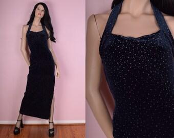 90s Dark Blue Glitter Velvet Halter Maxi Dress/ US 7/ 1990s/ Formal/ Evening
