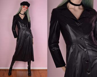 90s Black Faux Leather Coat/ Small/ 1990s
