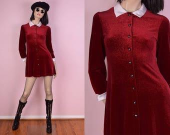 90s Red Glitter Velvet White Collared Mini Dress/ XS/ 1990s/ Button Down