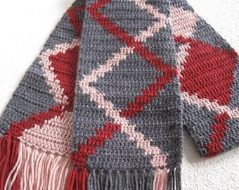 Geometric Scarf. Denim blue grey, pink and autumn red tapestry crochet scarf.