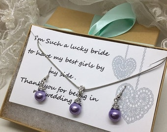 Bridesmaid jewelry set, Bridesmaid gift, bridesmaid necklace, bridesmaid earrings, Wedding jewelry set ,Lilac pearl necklace earrings