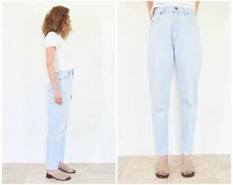 90s Light Wash Denim Tapered Jeans / 27/28 Waist
