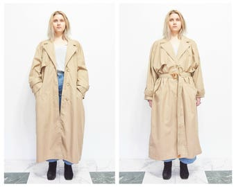 Vtg Slouchy Tan Khaki Trench Coat