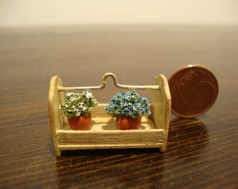 dollhouse Miniature Wooden box with metal handle