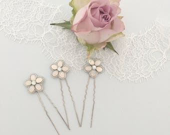 Opal silver flower wedding hair pins, Flower wedding hair pins, Opal wedding hair pins, Silver flower hair pins, Floral hair pins