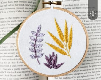 Beginner to Intermediate Embroidery Pattern Botanical Leaves Hand Embroidery PDF