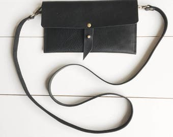 Black leather crossbody bag, black leather purse, crossbody purse, leather shoulder bag, everyday bag,leather purse,fanny pack