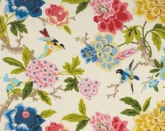 "Two 96"" x 50""  Custom Outdoor/Indoor Curtain Panels - Waverly Bird Floral -"