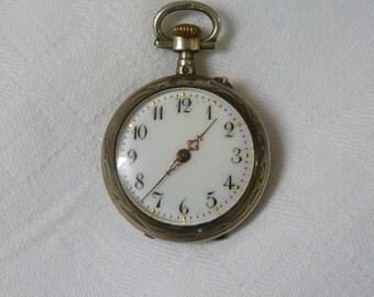 Antique SILVER FOB Watch Ladies FRENCH Hallmarked Pocket Art Nouveau