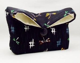 Foldover clutch, Fold over bag, clutch purse, evening clutch, wedding purse, bridesmaid gifts - Dragonflies on blue (Ref. FC26 )