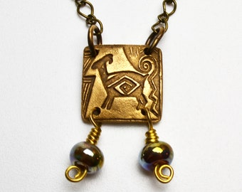 Bronze Clay Billy Goat Pendant Necklace