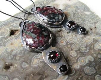 Russian Eudialyte, Rhodolite Garnet and Black Onyx Dangle Earrings in Sterling Silver Jewelry