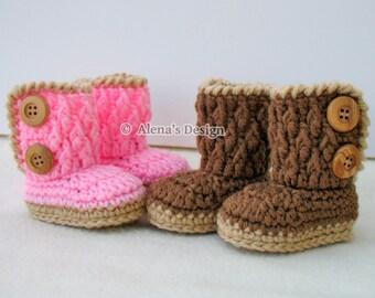 Crochet Pattern 091 - Baby Booties Crochet Pattern - Crochet Booties Pattern for Two-Button Baby Booties 0-3, 3-6, 6-9, 9-12 months Slippers