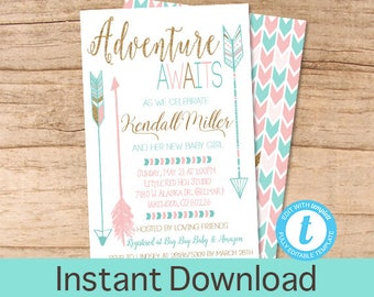 Girl Adventure shower invitation, Adventure Awaits Baby Shower Invitation, Pink Gold Mint Tribal Feather Invite, EDITABLE Instant Download