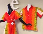 Vintage 60s 70s Hawaiian Wedding Set Maxi Dress & Pin Tiki Oasis Aloha Shirt COTTON Barkcloth 1970s  Orange Red Green Beach Wedding Hippie