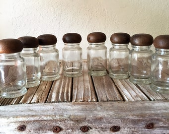 Vintage Set of 8 Spice Bottles with Faux Bois Lids