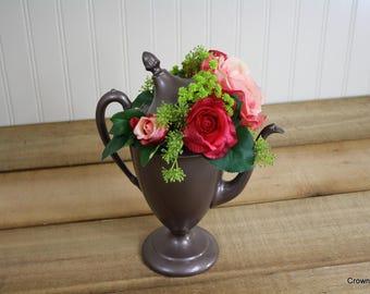 Tea Pot Floral Arrangement - Romantic Decor - Silk Floral Arrangement - Vintage Tea Pot - Roses - Home Decor - Wedding Centerpiece