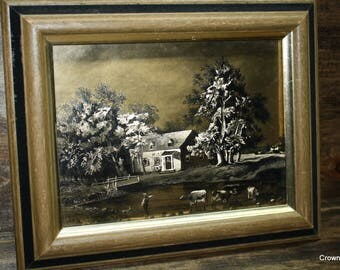 Currier and Ives Gold Foil Print - Farmhouse with Cows - Home Decor - Wall Hanging - Wall Art