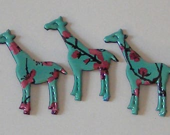 3 Mini Giraffe Magnets - Arizona Green Tea Pink Flowers