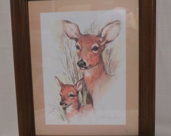 Vintage Deer Picture Print Home Interiors Paul Whitney Hunter Wood Frame