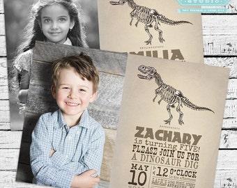 Vintage Dinosaur Fossil Hunter Photo Invitation