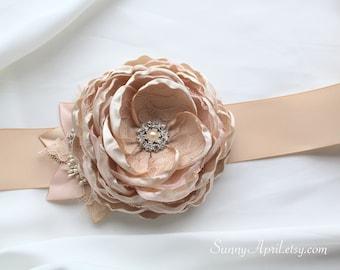 Blush/ Champagne Single Flower Ribbon Sash/ Wedding Sash/Handmade Accessory