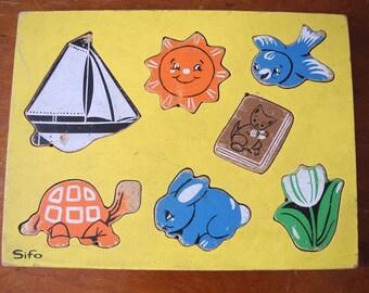 SIFO  Shapes. Jigsaw.  Wooden Jigsaw Puzzle Nursery Jigsaw puzzle At the beach sunshine rabbit Wooden Jigsaw Nursery decor. 2 to 4 years old