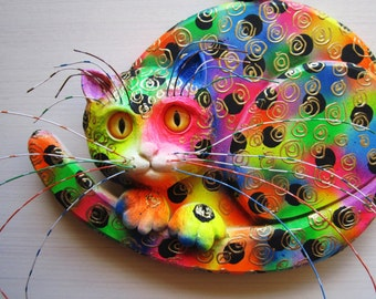 Cat art wall sculpture