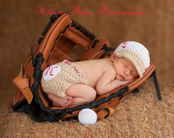 Baby Boy Hat - Baby Baseball Hat -  Adorable baseball diaper cover and hat with visor
