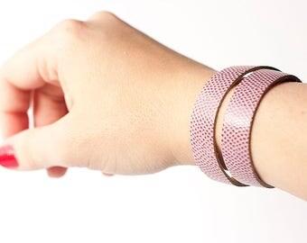 Leather Bracelet / Slim Wrap Cuff / Raspberry Sorbet