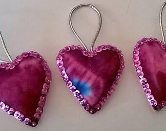 "Set of 3 Handmade Tie Dye Felt and Sequin Heart  Ornaments  2x2"" LIGHT PINK"