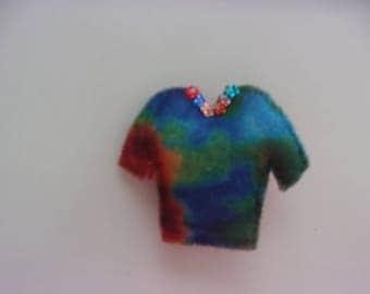 """Handmade Felt TIE DYE T Shirt  Magnet 3""""h x 3""""w"""